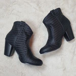 Qupid Woven Style Round Toe Black Booties